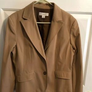 Petite Sophisticate Light Brown Tan Blazer Sz 14